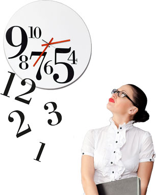 Woman looking at the clock